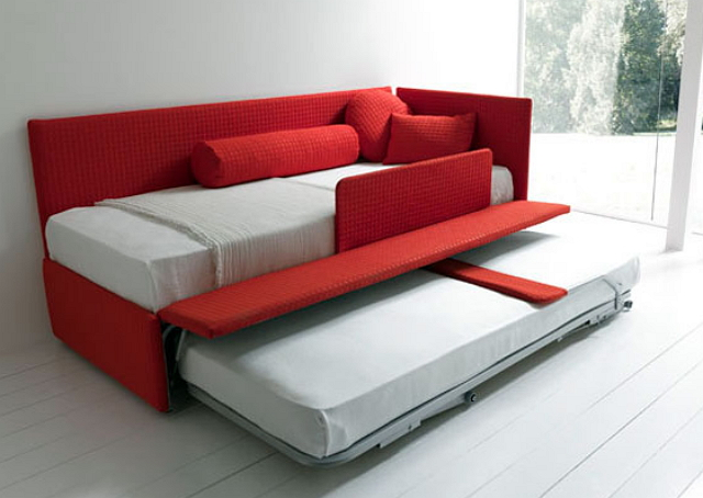 red convertible sofa bed design