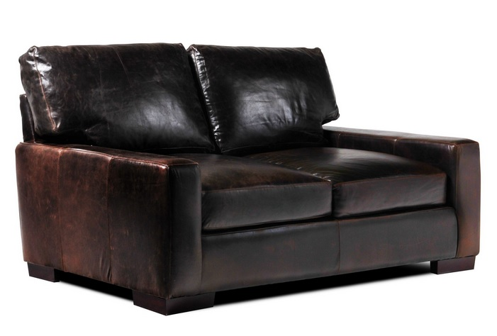 Tobacco Leather Loveseats for Small Spaces