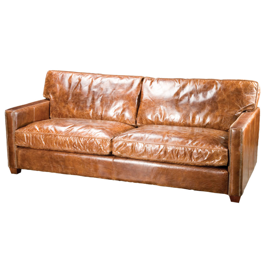 Vintage Brown Small Leather Couch for Small Space