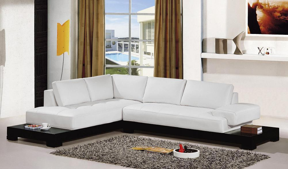 White Leather Sectional Sofa EVA Furniture