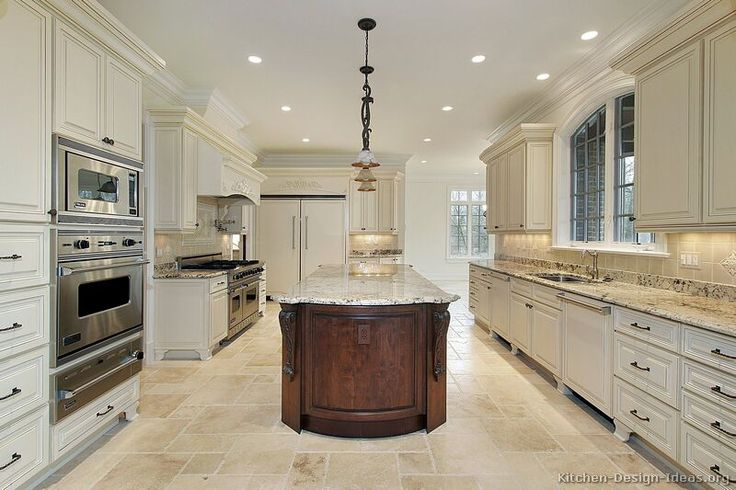 Antique White Kitchen Cabinet With White Granite