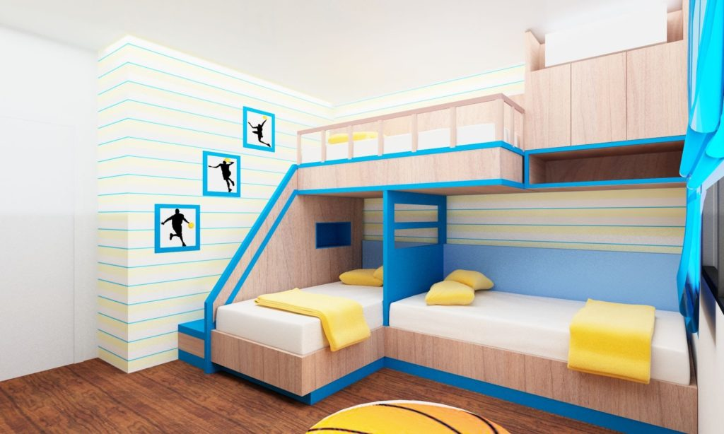 Blue Modern Bunk Bed Designs for Modern Bedroom