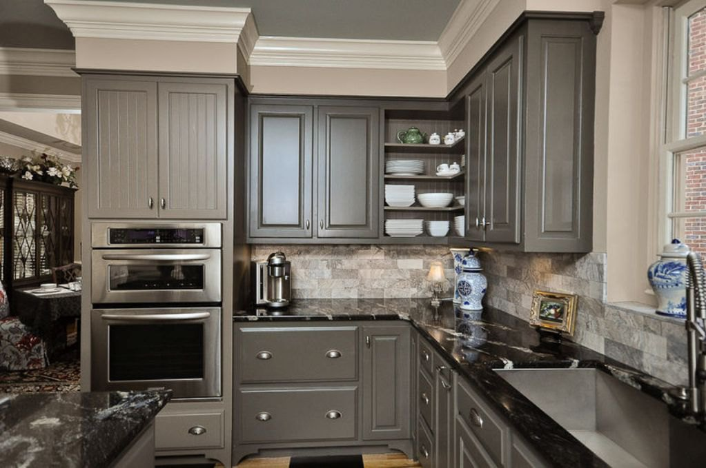 Greykitchencabinetswithpatternedblackgranitecountertop EVA - Granite for gray cabinets