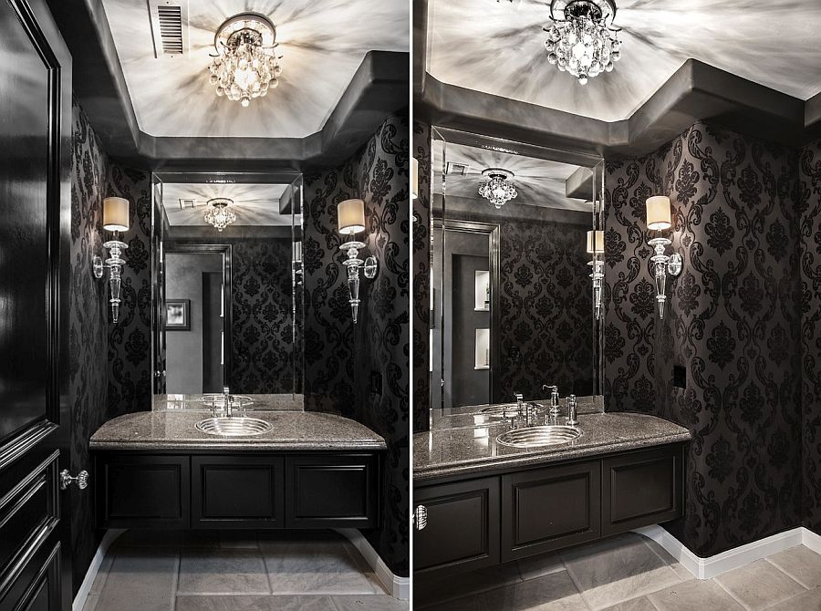 Luxury Black and White Powder Room Ideas