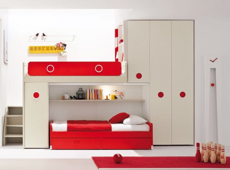 Red modern bunk bed designs ideas - Picture of teeneger room decoration ...