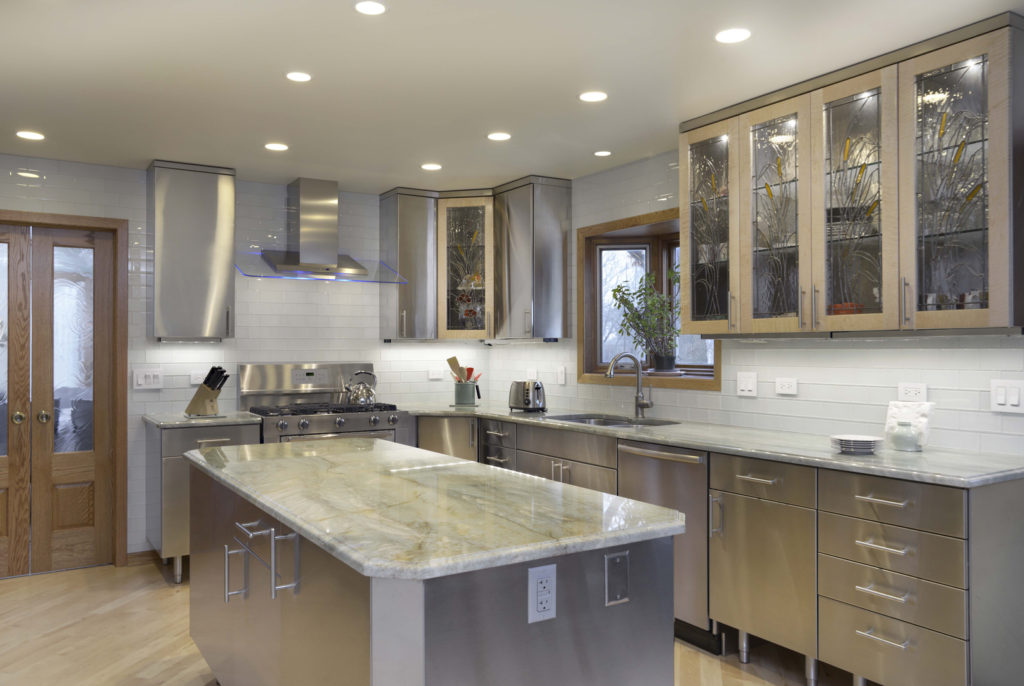 All about stainless steel countertops pros and cons eva for Stainless steel kitchen designs