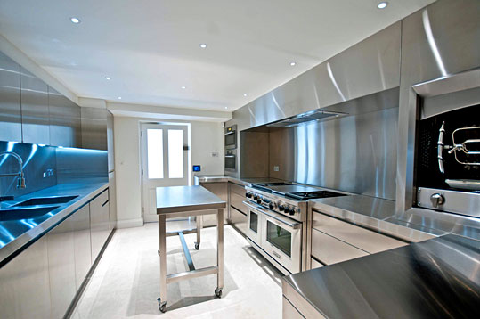 Stainless steel kitchen countertops for modern kitchen for Stainless steel bathroom countertops
