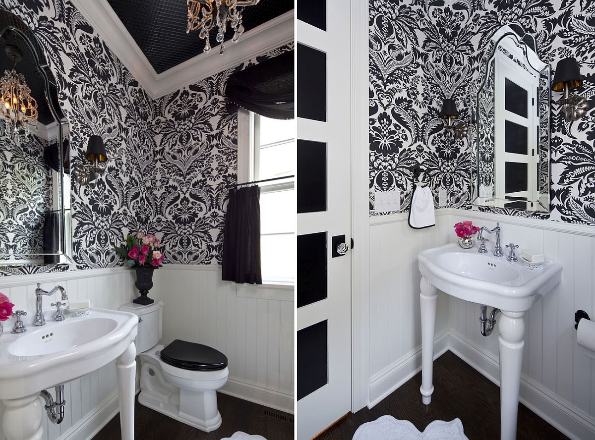 Traditional Powder Room in Black and White Picture Ideas