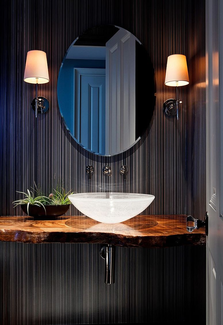 Tropical Powder Room With Live Edge Wood Vanity