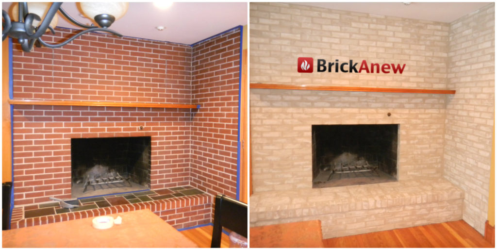 Floortoceilingbrickfireplacemakeover EVA Furniture - Brick fireplace tile ideas