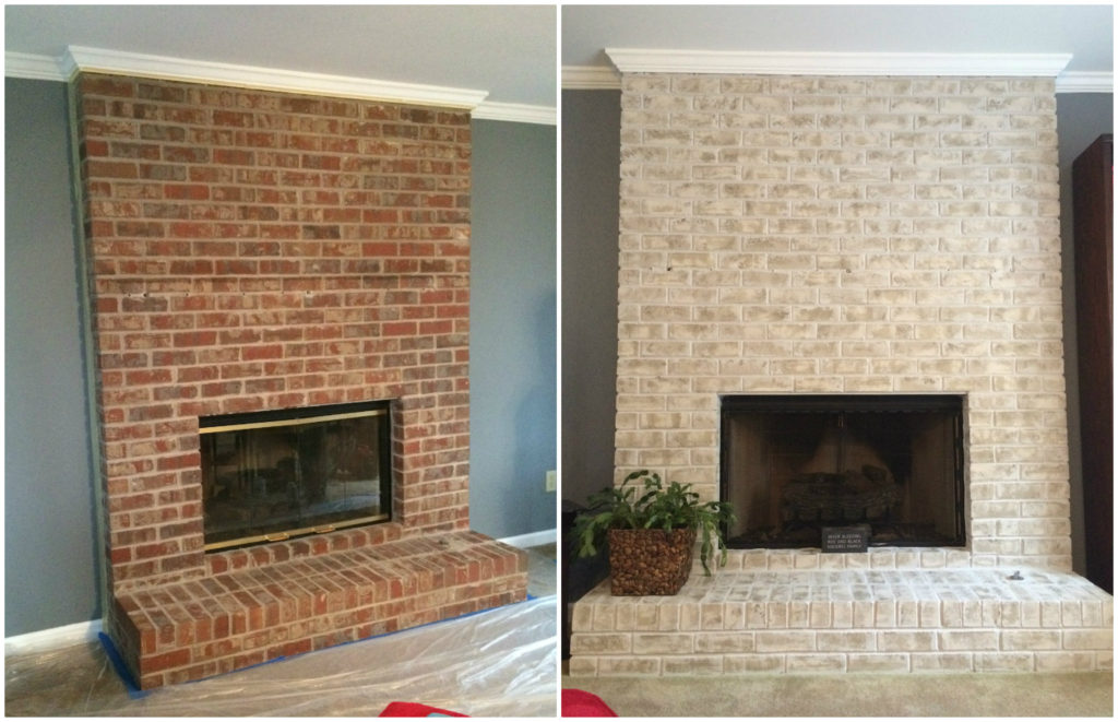 Brick Fireplace Part - 22: Floor-to-ceiling-brick-fireplace-makeover