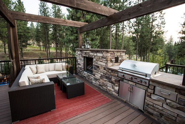 Modern Patio Design Fireplace And Kitchen
