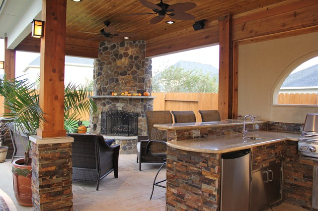 Outdoor Kitchen With Fireplaces Design Ideas