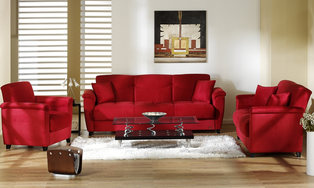 Best Decorating Living Room with Blood Red Sofa