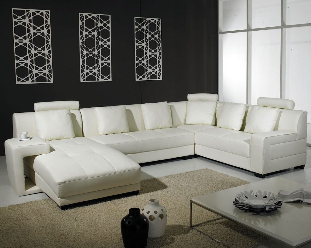 Modern White Bonded Sectional Sofa for Small Living Room | EVA ...