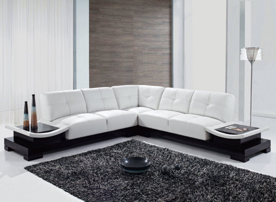 ... Cozy Living Room Interior Design With White L Shape Leather Sofa  Furniture Ideas ... Part 60