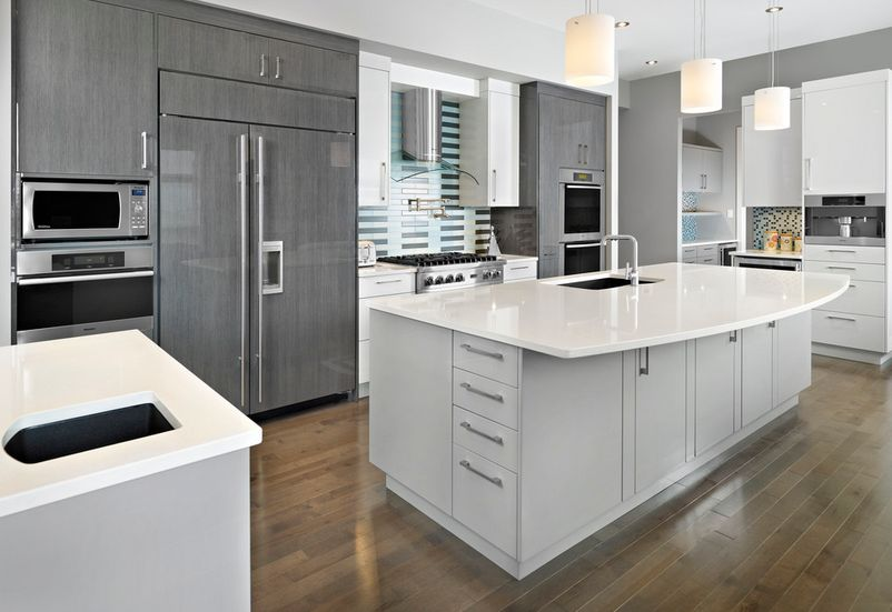 Light Grey Kitchen Cabinets Picture EVA Furniture - Light grey kitchen cabinets with white countertops