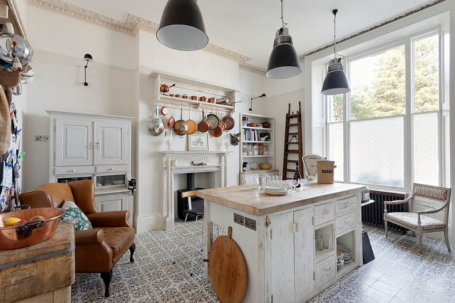 Beautiful Shabby Chic Style Kitchen with Tiled Flooring