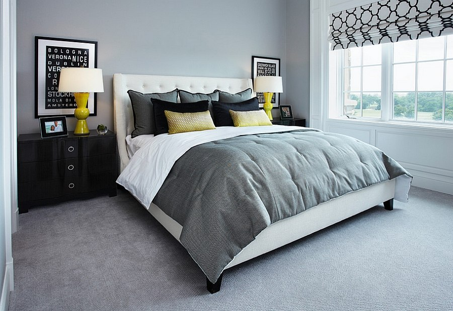 Cool and Stylish Yellow and Grey Bedroom Decorating Ideas