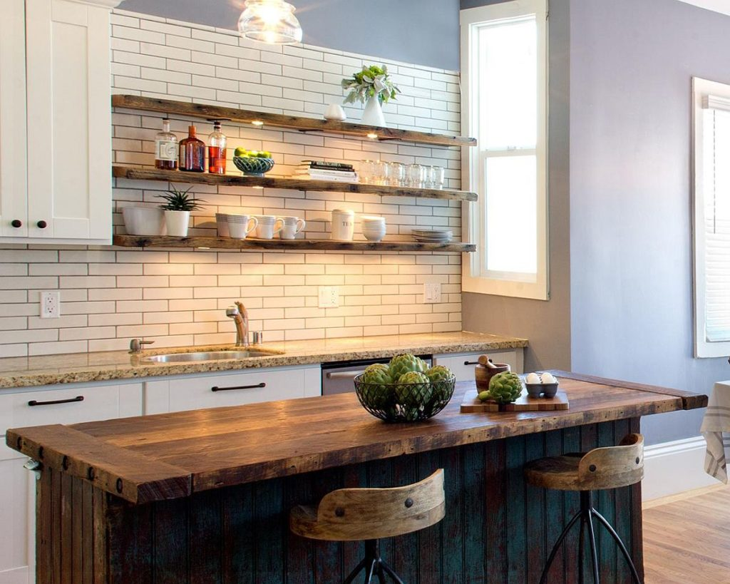 23 rustic kitchen shelving ideas for modern kitchen eva for Kitchen shelf