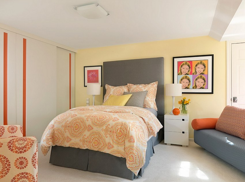 ... Exquisite Use Of Grey, Yellow And Orange In The Bedroom ...