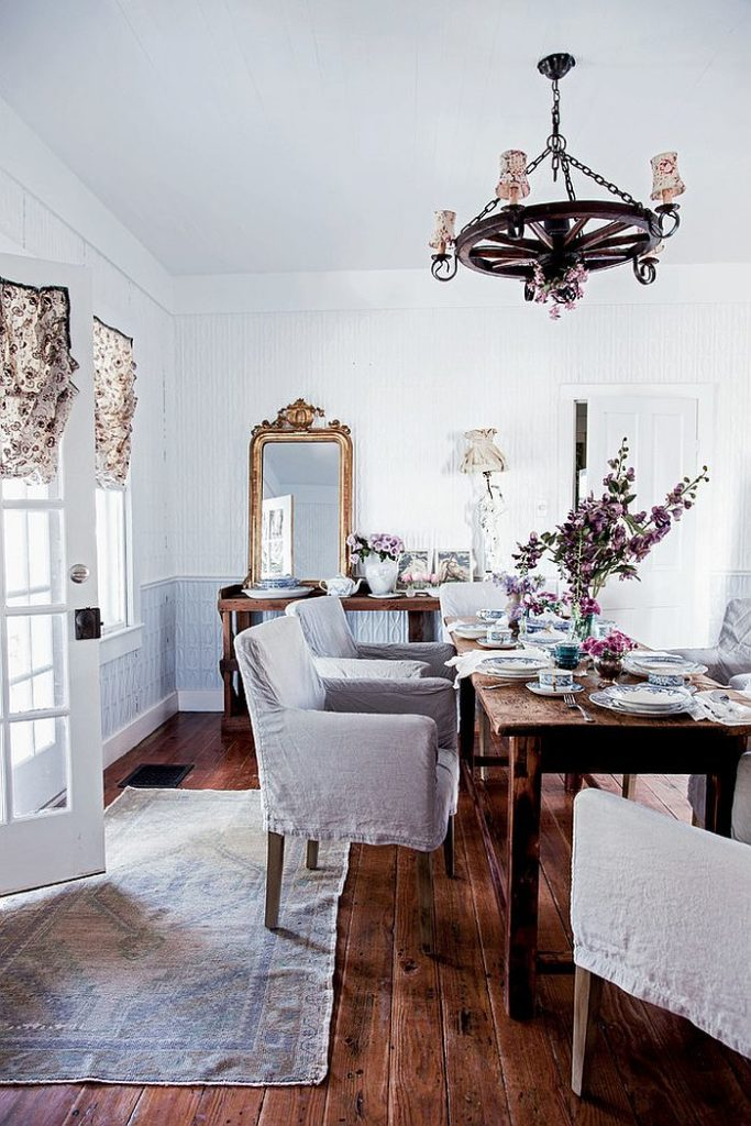 Perfect Shabby Chic Dining Room Ideas with Feminine Vibe
