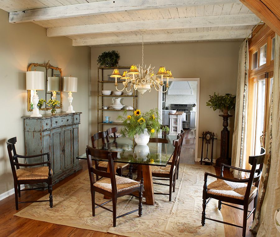 Weathered Buffet and Antique Mirror Give the Cozy Dining Room Shabby Chic Look