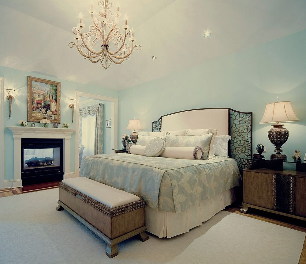 25 elegant bedroom chandelier ideas that exudes luxury 14734 | light blue and white master bedroom with classic flair chandelier
