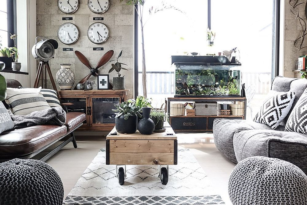 Modern Industrial Living Room with Monochromatic Color Scheme and ...